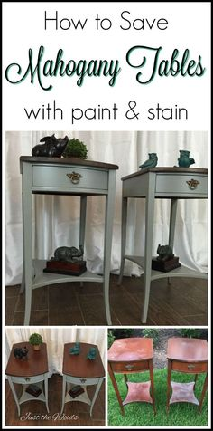 Vintage mahogany tables are given an update while still preserving the wood grain. Painted furniture with stain combo is a classy and timeless finish for any piece.