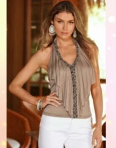 Embellished ruffle halter top with beaded front detail, sexy front draping and a smocked back. Trendy Tops, Cute Tops, Women's Tops, Summer Outfits, Casual Outfits, Cute Outfits, Look Fashion, Fashion Outfits, Fashion Design