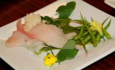 Fresh, buttery hamachi on a broken, slighty tart sorrel sauce, wild rattail radishes with ponzu, lemony oxalis leaves and flowers, shaved daikon and sweet sage beer granita.