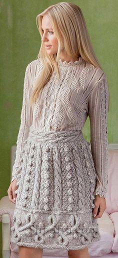 Юбка с косами и шишечками tg Вязаные юбки