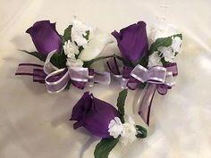 Purple White Wedding Bridal Bouquet Cascade Silk Rose Flower Package Lily 22 pc