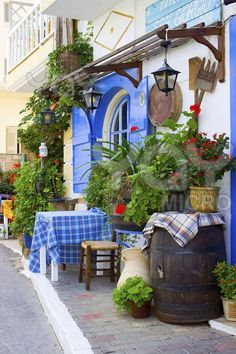 Taverna at Malia, Iraklio,Crete,Greece you and I are having lunch there today=it will brighten my life!