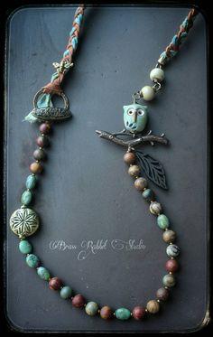 Mixed media long necklace boho whimsical by BrassRabbitStudio