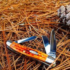 Case 7403 med. Stockman. Pocket worn harvest orange handle, and a blad,  #7403 #case #in #made #usa