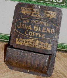Tin Advertising Match Holder - Java Blend Coffee - John H. Fitch - 1890s
