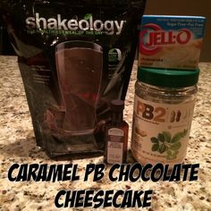 Caramel Peanut Butter Chocolate Cheesecake - all blended together for a little shakeology recipe that tastes like dessert!