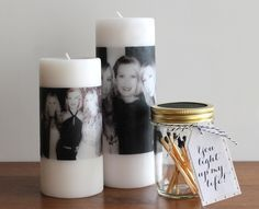 DIY Photo Candles DIY Mother's Day Candle - A heartfelt gift that can double as a centerpiece, these candles are even sweeter when paired with our DIY match jar. The process can also be used to make lovely gifts for a milestone birthday, Christmas, or as Photo Candles, Diy Candles, Ideas Candles, Pillar Candles, Homemade Mothers Day Gifts, Mother Day Gifts, Homemade Gifts, Personalized Mother's Day Gifts, Diy Gifts