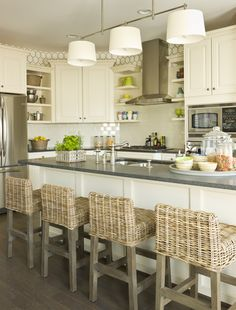 Love the walls (top & bottom) and the white cabinets with the dark countertops
