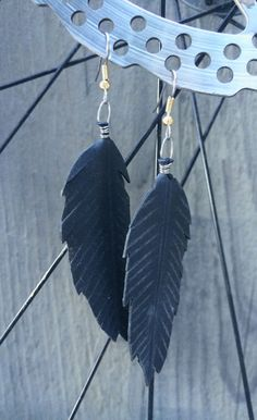 Recycled Bike Tube Feather Earrings Repurposed by maybirdjewelry