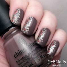 Fall nail art using Bundle Monster stamping plates
