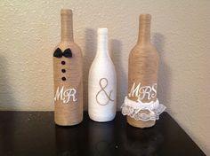 Mr & Mrs twine wine bottles by NorthwestdesignsbyHH on Etsy https://www.etsy.com/listing/176366483/mr-mrs-twine-wine-bottles