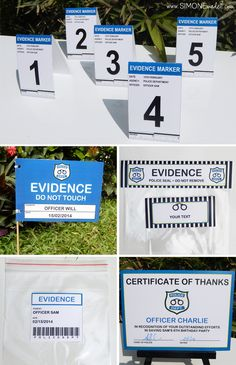 Police Party Ideas | Cops & Robbers Game | Evidence Tags & Bags | via SIMONEmadeit.com
