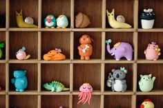 Polymer clay animals from Joo Joo's animal alphabet project. I wish they were available for sale.