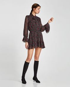 ZARA - WOMAN - PRINTED DRESS WITH BOW