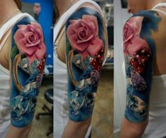 Rose and Diamond tattoo, so vibrant and realistic. Beautiful color!