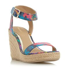 Head Over Heels Kallisto two part espadrille wedges, Multi-Coloured