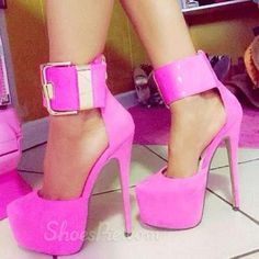 Stylish  Rose Coppy Leather Ankle Strap High Heel Shoes