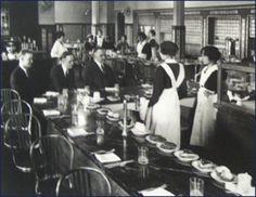 The Harvey Girls, a Slice of American History ~ Helen Espy (my mom) worked as a KC Harvey Girl in 1939 and onward. Harvey House, Harvey Girls, Berlin, Girl Train, Girls Uniforms, Black Stockings, Classic Films, Women In History, Wild West