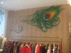 feathers, interior, mural, peacocks, wall art