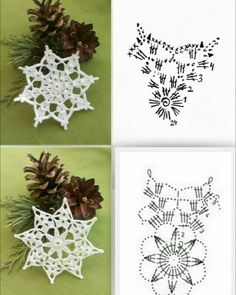 Crochet Snowflake Pattern, Crochet Stars, Crochet Snowflakes, Crochet Motif, Crochet Patterns, Cotton Crochet, Thread Crochet, Crochet Home, Diy Crochet