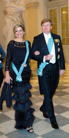 La reine Margrethe II de Danemark fêtait ses 75 ans lors d'un dîner au palais de Christiansborg, Copenhague, le 15 avril 2015.