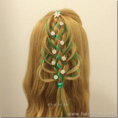 Loop Braid Christmas Tree hairstyle with ornaments