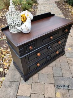 "What a beauty this painted Victorian Eastlake Style Dresser is! I did a custom paint job last fall for a local woman named ""Marilyn"". Refinished Buffet, Painted Sideboard, Walnut Dresser, Painted Buffet, Furniture Fix, Furniture Makeover, Bedroom Furniture, Victorian Dressers, Black Painted Furniture"