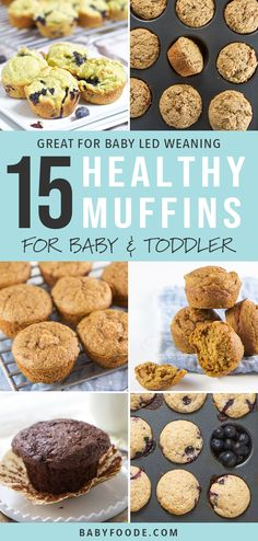 15 healthy muffins recipes for baby + toddler , 15 simple, healthy muffin recipes for babies and toddlers! Your kids will love these delicious muffins for breakfast, snacks and take away. Healthy Muffin Recipes, Baby Food Recipes, Gourmet Recipes, Healthy Breakfasts, Fruit Muffin Recipe, Party Recipes, Recipes For Babies, Recipes Dinner, Baby Fingerfood Recipes