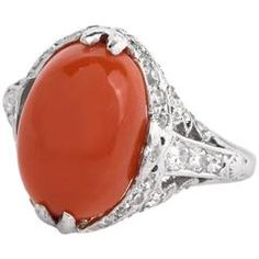1930s Art Deco Red Coral Diamond Platinum Filigree Ring