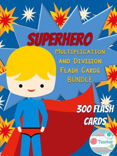 Do your kids love superheros? Are they learning multiplication and division? Then these are the perfect flash cards for you! These 300 flash cards include multiplication from 1x0 to 12x12 and divison from 1÷1 through 12÷12. They have fun, colorful superhero clip art to make them engaging for children. There are two versions included: a full-color version with a fun red and yellow lightning background or a plain white background if you want to use less color ink.