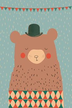 Beer print - Pimpelpluis - https://www.facebook.com/pages/Pimpelpluis/188675421305550?ref=hl - (nursery print illustration kids children art poster dieren kinderen cute illustratie hoed animal bear beer)
