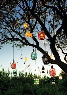 Eclectic lanterns hanging from tree like a chandelier tree!