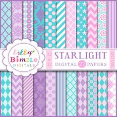 Starlight Papers - set includes 22 papers. Great for scrapbooking, invitations, greeting cards, collages and crafts.