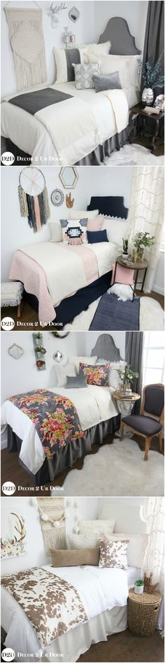 """Decorating a dorm room? Check out Decor 2 Ur Door for tons of college dorm room inspiration - from boho dorm room decor to preppy Lilly dorm rooms. Get the """"Fixer Upper"""" farmhouse dorm room look with Magnolia Homes pillows and rugs or take a walk on the wild side with this blush and cheetah print dorm room. There are hundreds of dorm room bedding sets to fit your unique personality and style. We adore these custom-made designer headboards for dorm rooms, extended-length dorm room..."""
