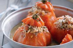 Tomaat gevuld met krab
