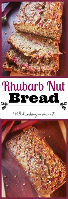 Rhubarb Nut Bread Recipe This was really delicious. Makes a lot of dishes though. I used big bowls for everything because I didn't read ahead very far in the recipe. Rhubarb Nut Bread, Rhubarb Desserts, Just Desserts, Dessert Recipes, Rhubarb Muffins, Rhubarb Rhubarb, Healthy Rhubarb Recipes, Rhubarb Crunch, Delicious Desserts