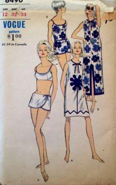 1960's Vintage Vogue Swim Bathing Suit 1-2 pc Coverup Misses' Sewing Pattern *FF