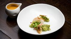 Butter Poached Lobster, Coriander and Chicken Dumpling and Lobster Bisque