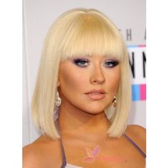 A sleek bob, smoky eyes and nude glossy lips completed Christina Aguilera's look. Christina Aguilera Hairstyle Top Quality Medium Silky Straight Bob Wig 100% Human Hair about 10 Inches