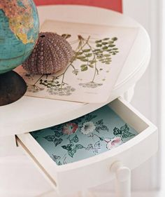 Drawer lined with wallpaper | Quickly and easily dress up your home―brush and paste not required.