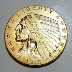 1915 $5 Gold Indian Head Half Eagle-About Uncirculated-Free USA Shipping
