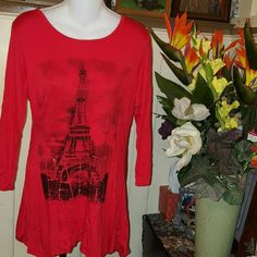 VELVET SKYE LONG SLEEVE DRAPE FRONT PARIS TOP M PARIS WRITTEN WITH SEQUINS Red and Black with Eiffel Tower . LONG SLEEVE SCOOP NECK. VELVET SKYE Tops Tunics