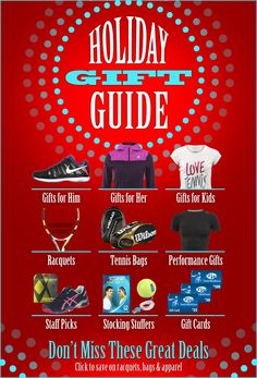 Holiday Gift Guide at Tennis Warehouse Tennis Bags, Tennis Gear, Holiday Gift Guide, Holiday Gifts, Tennis Warehouse, Stocking Stuffers, Gifts For Him, Kids, Xmas Gifts