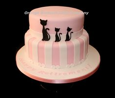 Pink and White Cat Cake