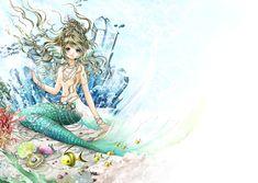 Larimar mermaid princess with long wavy blond hair, blue eyes, & green tail by manga artist Shiitake.