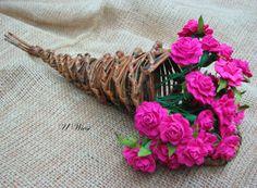 papierowa wiklina - paper basket kwiaty z bibuły crepe paper flowers