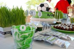 Soccer party - grass centerpieces.