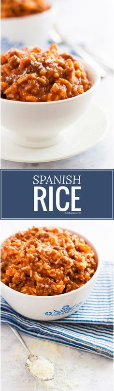 This easy Spanish Rice recipe has been a mainstay in my family for as long as I can remember. It's a really quick recipe which makes it perfect to make on a weeknight and is great for back-to-school. Delicious tomato sauce combines so well with ground beef and rice- the whole family will love this homemade, healthy meal!