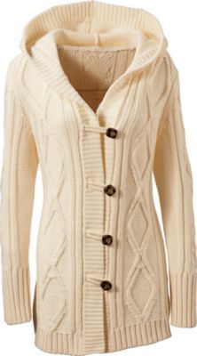 chunky cable knit cardi - ivory
