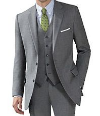 Traveler Tailored Fit 2-Button Suit with Plain Front Trousers- Blue/Grey Sharkskin